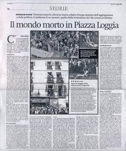 """Il mondo morto in Piazza Loggia, """"il Manifesto"""", 12 maggio 2005"""