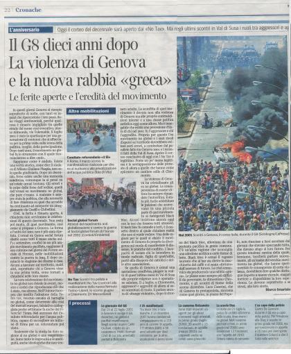 Corriere della Sera, IL G8 DIECI ANNI DOPO..., Marco Imarisio 22-07-2011