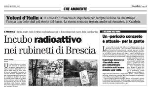 """Scarica il .pdf dell'inchiesta del Manifesto (28-10-12): """"Incubo radioattivo nei rubinetti di Brescia"""""""